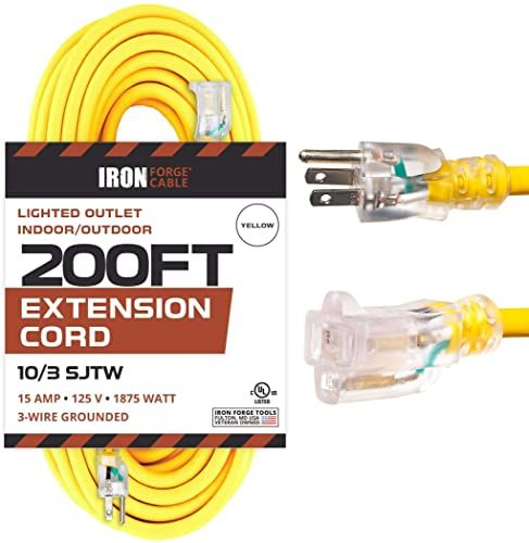 Chic 200 Foot Lighted Outdoor Extension Cord 10 3 Sjtw Yellow 10 Gauge Extension Cable With 3 Prong G In 2020 Outdoor Extension Cord Appliances Online Extension Cord