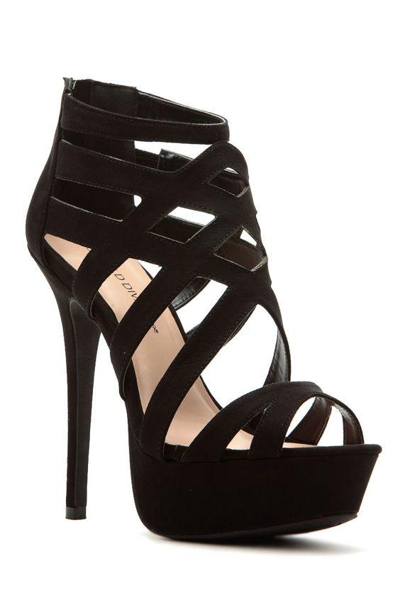 Black Faux Suede Cross Strap Platform Heels @ Cicihot Heel Shoes ...