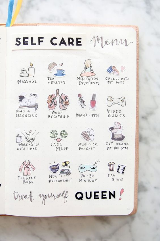 Self-care menu - a list of self-care activities so you'll never forget - - 9 self-care bujo pages to add to your journal now  - Ourmindfullife.com