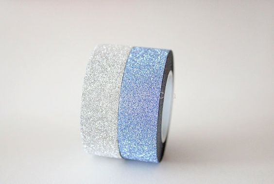 Glitter Washi Tape  Blue and Silver  Christmas by pingosdoceu: