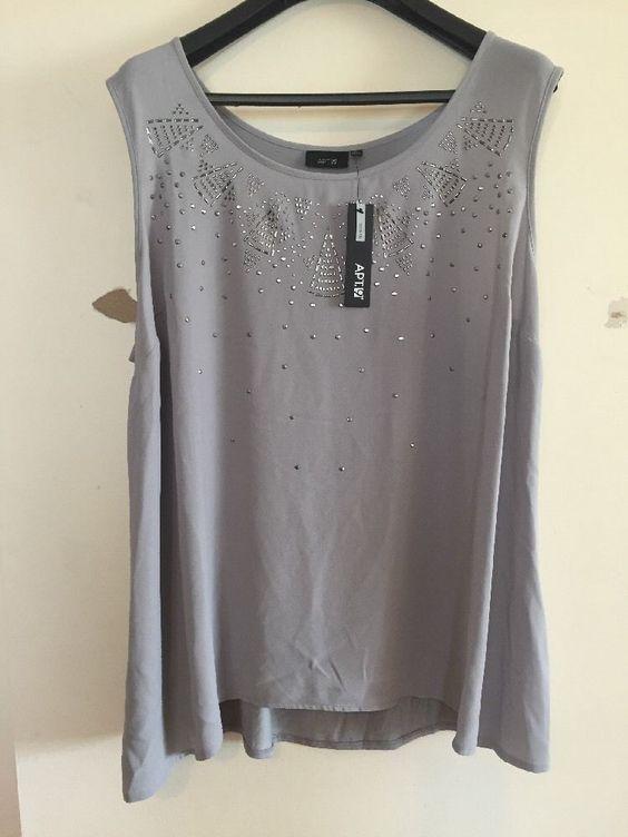 NWT Women's Apt. 9 Gray Beaded Tunic Sleeveless Blouse Top 3X Free Shipping…