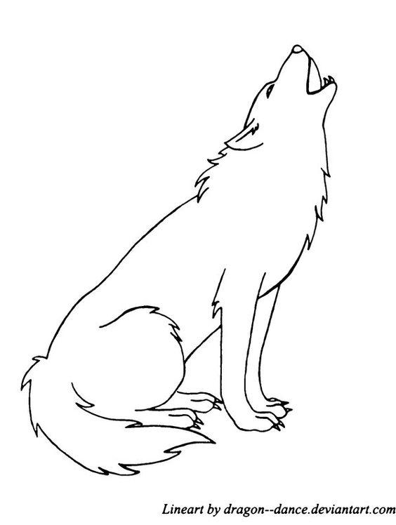 Line Art Wolf : Free howling wolf line art by dansudragon viantart