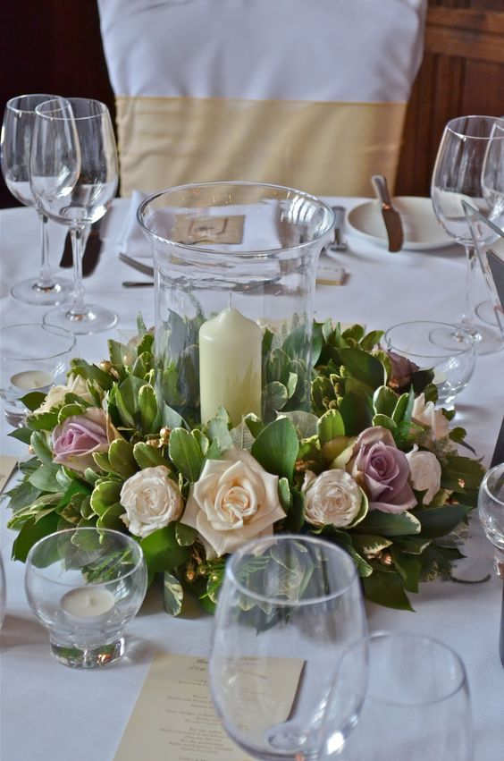 Wedding Centerpieces Using Hurricane Vases