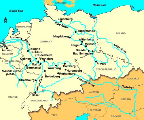 European River Map Rhine Mosel and Elbe Rivers  Places Europe