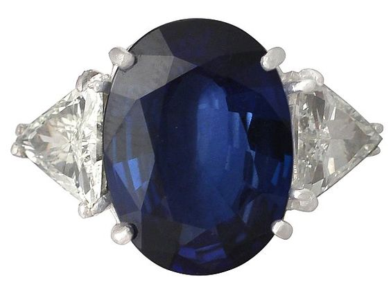 9.25 ct Sapphire and 1.95 ct Diamond, Platinum Dress Ring - Vintage Circa 1990  SKU: A4856 Price: GBP £7,950.00  http://www.acsilver.co.uk/shop/pc/9-25-ct-Sapphire-and-1-95-ct-Diamond-Platinum-Dress-Ring-Vintage-Circa-1990-35p8499.htm
