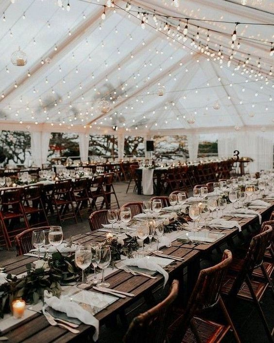 country rustic tented wedding reception ideas with string lights #emmalovesweddings #weddingideas2019