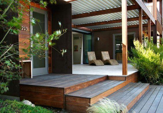 Ipe deck front porch modern prefab home corrugated for Modern prefab additions