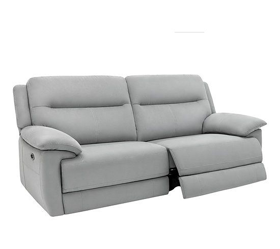 Canape 3 Places 2 Relax Electriques Curtiss Ii Tissu Gris Clair Canape But Canape 3 Places Tissu Gris Canape
