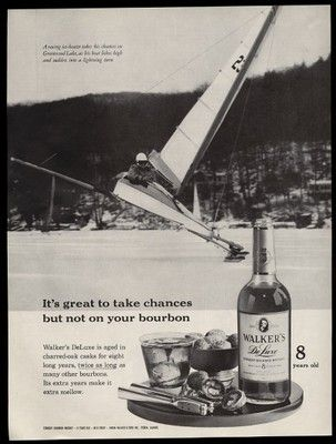 1961 Greenwood Lake NY Ice Boat Racing Photo Walker's Deluxe Bourbon Whiskey Ad