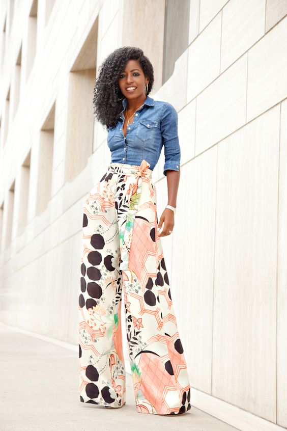 Fitted Denim Shirt x Printed Palazzo Pants: