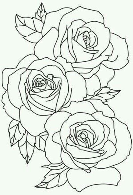 Awesome Flower Tattoos Ideas For Valentines Day 08 Rose Outline Tattoo Roses Drawing Flower Outline Tattoo