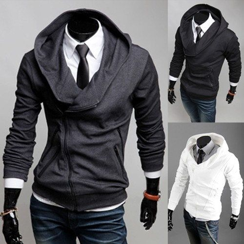 Mens Slim Top Designed Hooded Hoodies Jackets Sport Coats Large