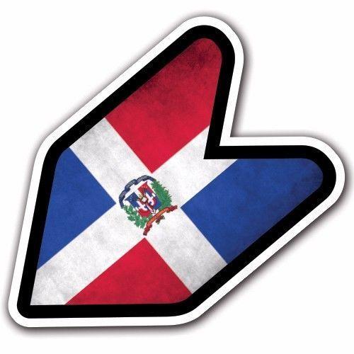 Grunge Dominican Republic - JDM Wakaba Leaf Flag Decal Sticker Car Macbook #CUSTOMI