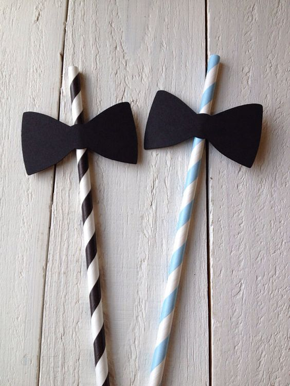 Black Bow Tie Paper Straws Baby Shower Little by angieheartsjared