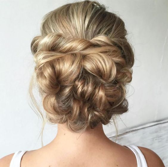 Back view of braided, twisted updo
