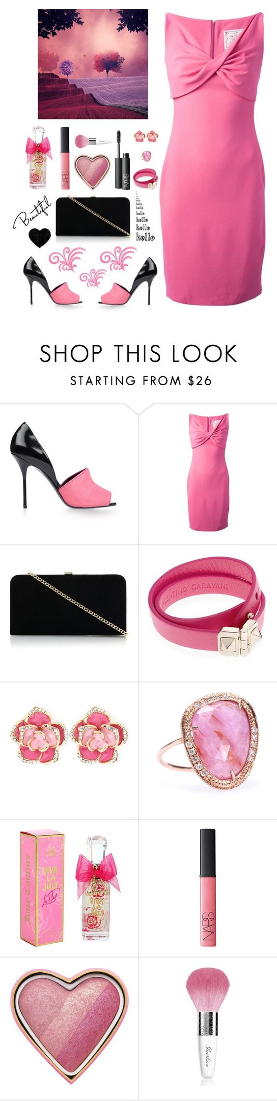 """In love with Pink.."" by k-peach ❤ liked on Polyvore featuring Pierre Hardy, Dsquared2, Dune, Valentino, Jacquie Aiche, Juicy Couture, NARS Cosmetics, Too Faced Cosmetics and Guerlain"