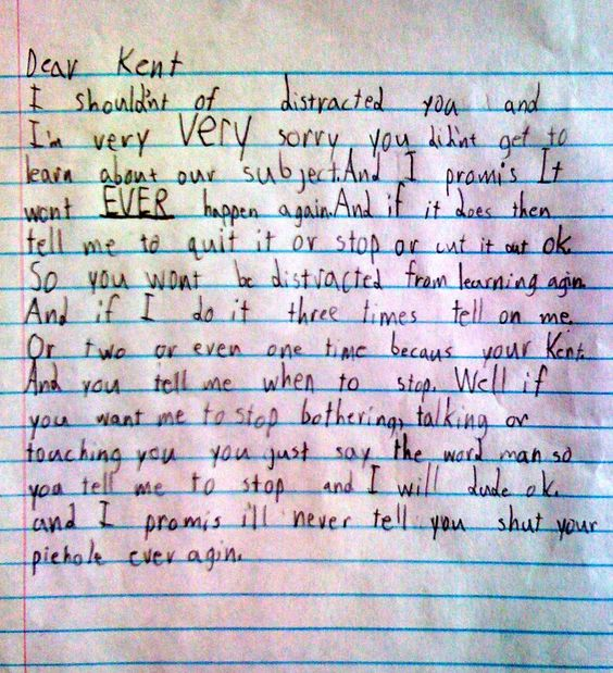 apology letter write a apology letter to a kids kids at school make