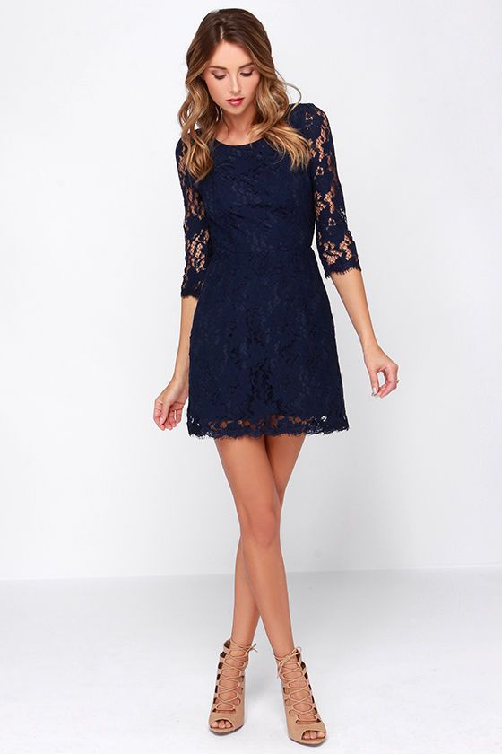 Somebody to Love Backless Navy Blue Lace Dress | The o'jays ...