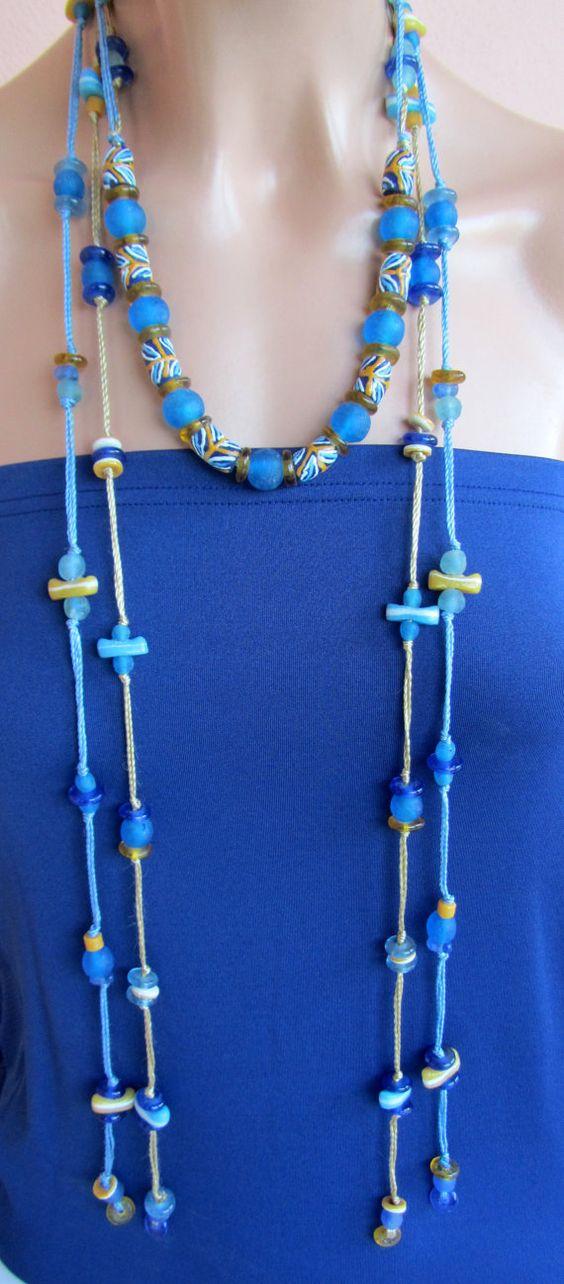 Collana di perline vetro riciclato Eco friendly blu di nad205