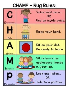 """Use this simple, colorful CHAMP chart to teach primary students your expectations for sitting on the carpet. I took this to Office Depot and they blew it up into a poster and use it daily! The kids love the pictures and it works well if you have a carpet with """"dots"""" in your classroom."""