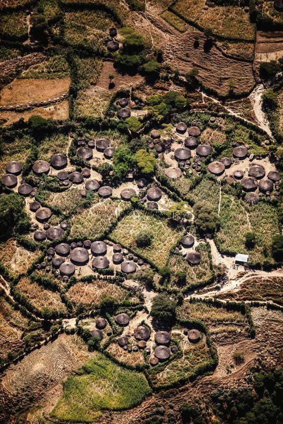 Casas cónicas entre las Montañas de Simien y Lalibela