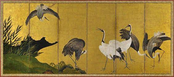 Paravent six feuilles Japon, Ecole de kano, pério - by Genève Enchères