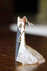 Wedding Clothes Pin Couples  too cute and creative! - I tucked this away in my husband's work bag with our wedding date on the back. He loved it. :-)