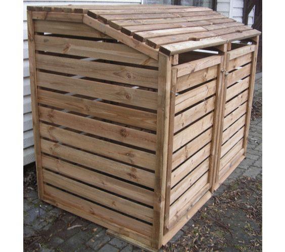 habrita cache poubelle double bois pour 2 poubelles. Black Bedroom Furniture Sets. Home Design Ideas