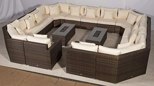 Giardino Santorini Large 13 Seater Brown Rattan Sofa Set 2 Drinks Cooler Coffee Tables Outdoo Rattan Furniture Set Rattan Outdoor Furniture Garden Sofa Set
