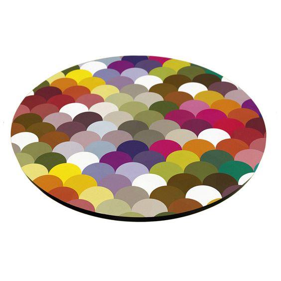 Prato giratório de madeira com Tampo de Vidro Ondas color 45 cm Utensílios Domésticos / Utilplast - Utilplast