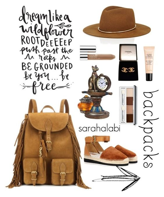 """""""dream like a child."""" by sarsouur ❤ liked on Polyvore featuring Yves Saint Laurent, Janessa Leone, Guerlain, See by Chloé, Chanel, Clinique, backpacks, contestentry and PVStyleInsiderContest"""