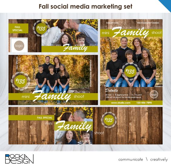 Fall photography marketing set: Facebook, Google+, Twitter, and Postcard coordinated kit by RockaDesign on Etsy