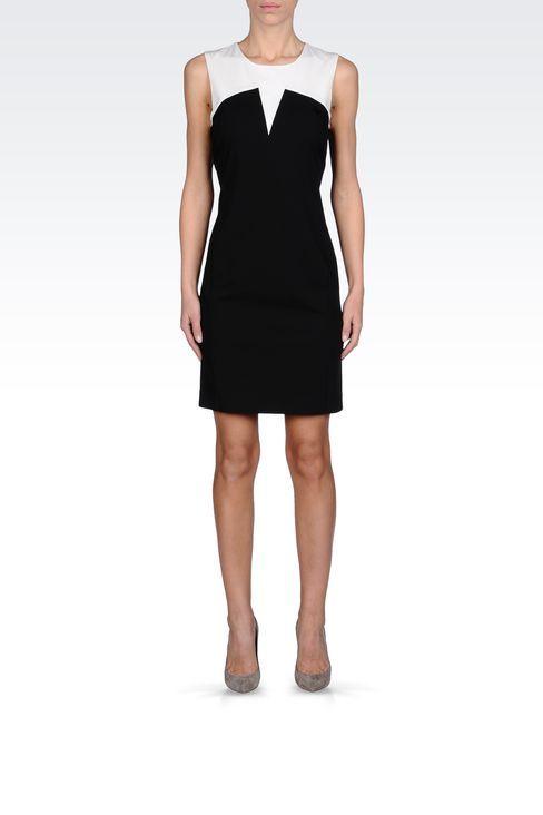 Vestito Corto Donna Armani Jeans - TUBINO IN GABARDINE BICOLORE Armani Jeans Official Online Store
