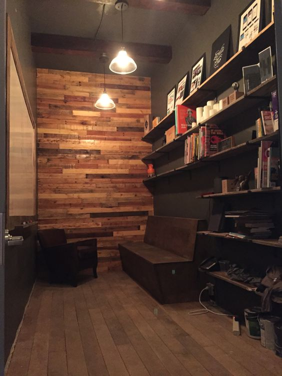 libraries reclaimed wood walls and pallets on pinterest