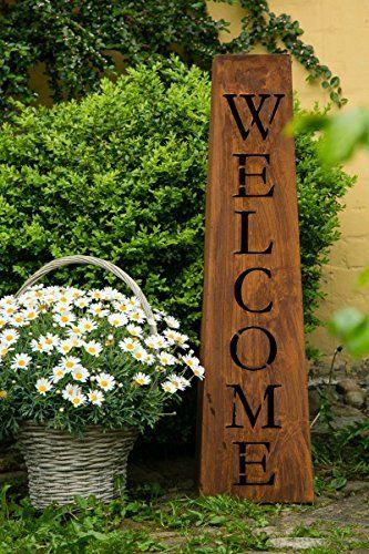 Willkommen welcome st nder s ule h 97cm rost schild for Edelrost figuren