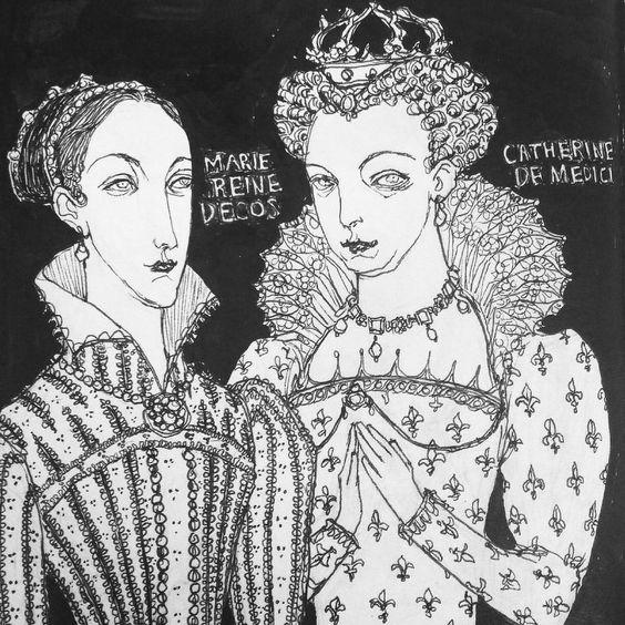Some queens  #sketchbook #drawing #sketch #queen #ink #maryqueenofscots #catherinedemedici #reign