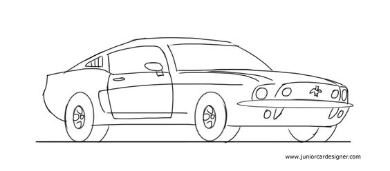 Learn How To Draw A Muscle Car Ford Mustang Car Drawing For