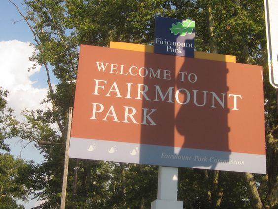 Sign announcing entry into Fairmount Park (serif font)