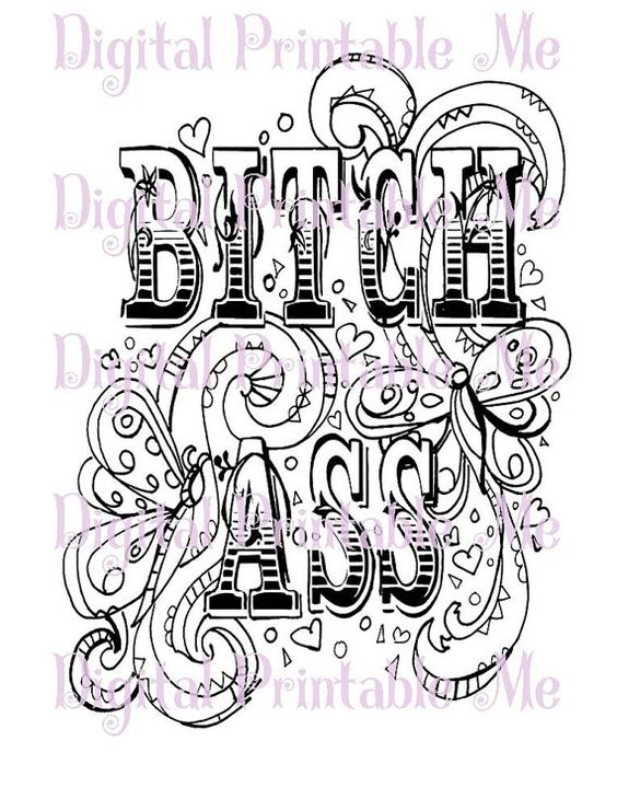 Swear Word Coloring Book Page Printable Instant Download