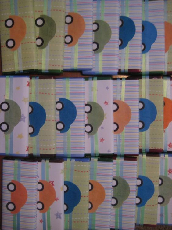 """Baby shower car theme """"WRAPPED CANDY BAR FAVORS."""""""