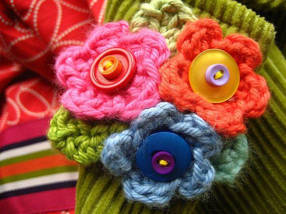 Crochet Flower Brooch  #brooch