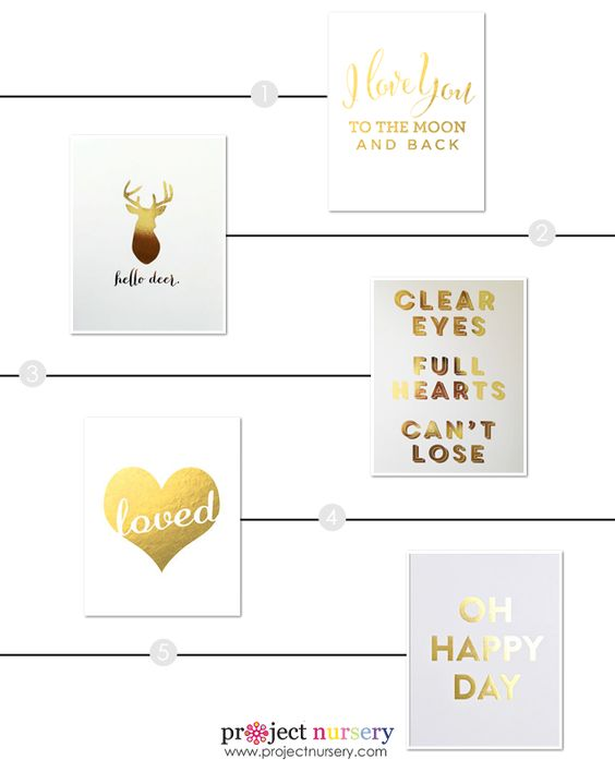 Nursery Tip: A smart way to incorporate gold in the nursery without a big commitment is to use one of these gorgeous gold foil art prints.