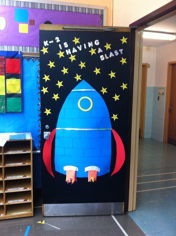 My kindergarten classroom door door decoration ideas for Vintage outer space decor