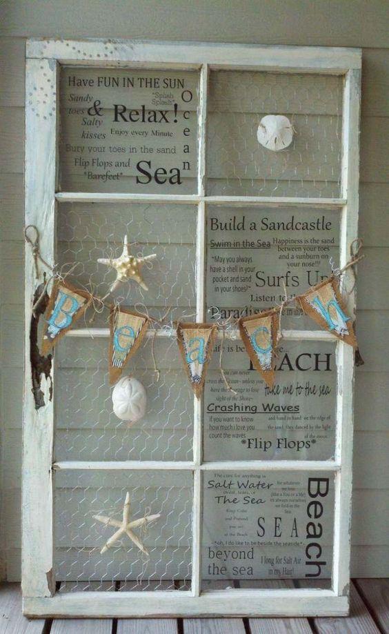 DIY déco avec  cadre en vielle fenêtre  grillage en métal et coquillage