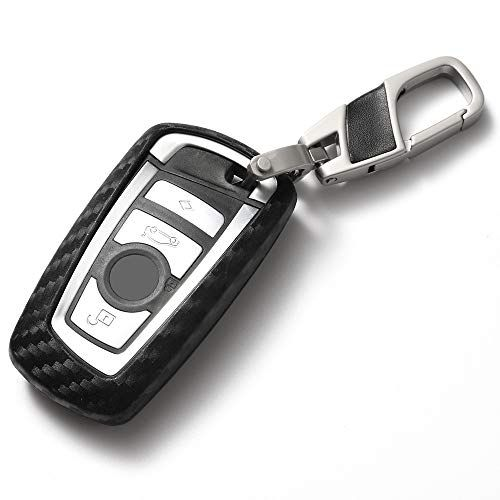 Qinling Carbon Fiber Pattern Silicone Fob Key Case For Old Bmw