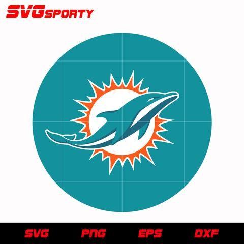Miami Dolphins Circle Logo Svg Nfl Svg Eps Dxf Png Digital File Miami Dolphins Miami Dolphins Logo Dolphins Logo