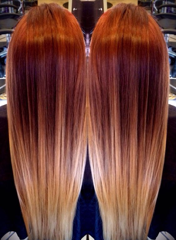 red melting to blonde ombr balayage hairs pinterest. Black Bedroom Furniture Sets. Home Design Ideas