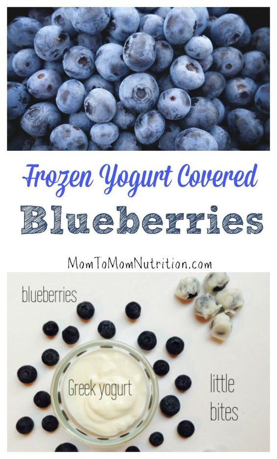 These icy frozen yogurt covered blueberries are a nutritious treat made with just two ingredients. The best part? They appeal to the whole family! @MomNutrition