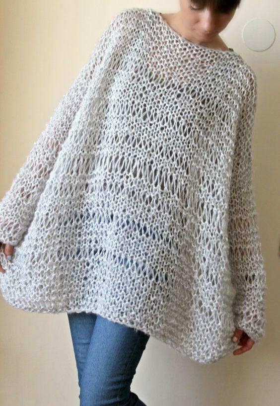Extra grande grosso sciolto maglia Mohair maglione di NastiaDi
