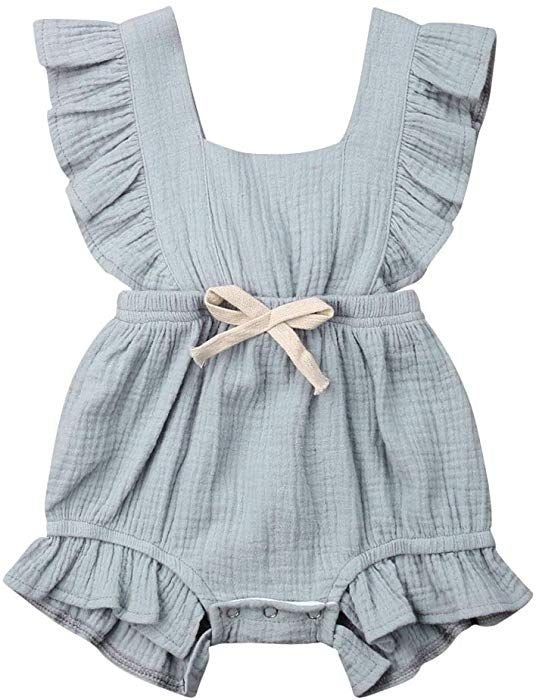 ITFABS Newborn Baby Girl Romper Bodysuits Cotton Flutter Sleeve One-Piece Romper Outfits Clothes